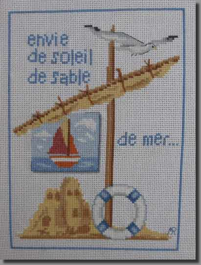 Grille point de croix mer phare coquillages bateau - Grille point de croix mer ...