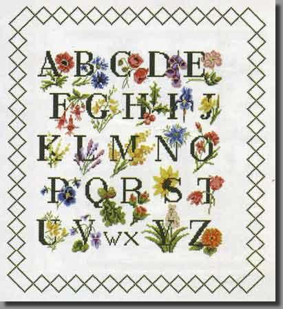 Grille point de croix abecedaire abecedaires abc jardin - Grille abecedaire point de croix gratuit ...